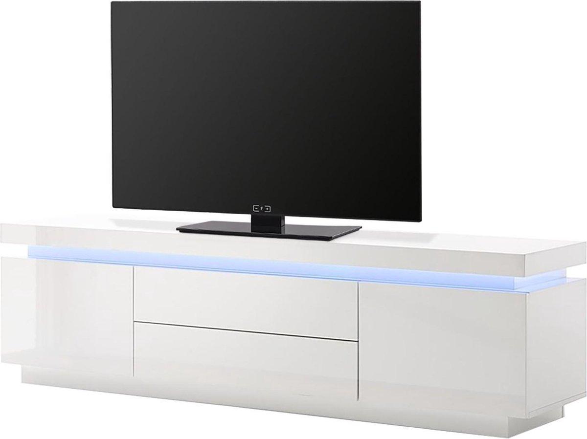 Zwevend Hoogglans Zwart Tv Meubel Flame 1 Lowboard Tv Kast.Bol Com Tv Meubel Emblaze Met Led Verlichting Led Lowboard Wit