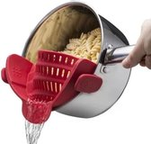 Siliconen Vergiet - Afgieter - Veilig afgieten – Solide compacte keuken afgietdeksel - Afgiethulp - Clip aan Keuken zeef Rood