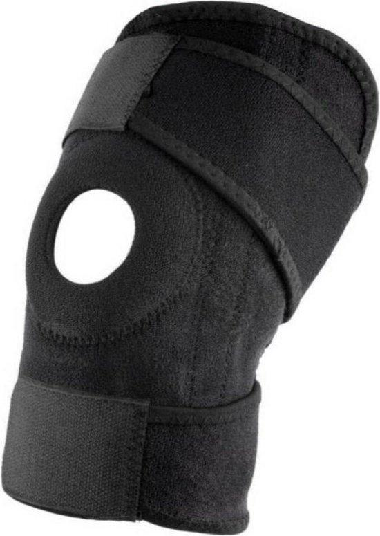 Kniebrace - Open Patella Knie Brace - Verstelbaar Compressie Bandage - Ondersteuning - Sport Band Strap - Beugel - Sleeve - Elastisch Neopreen - Dames en Heren - One Size Fits All - Zwart