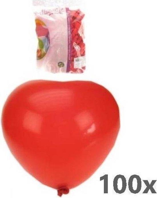 Heliumbalonnen - Hartjes - 100 st - Rood