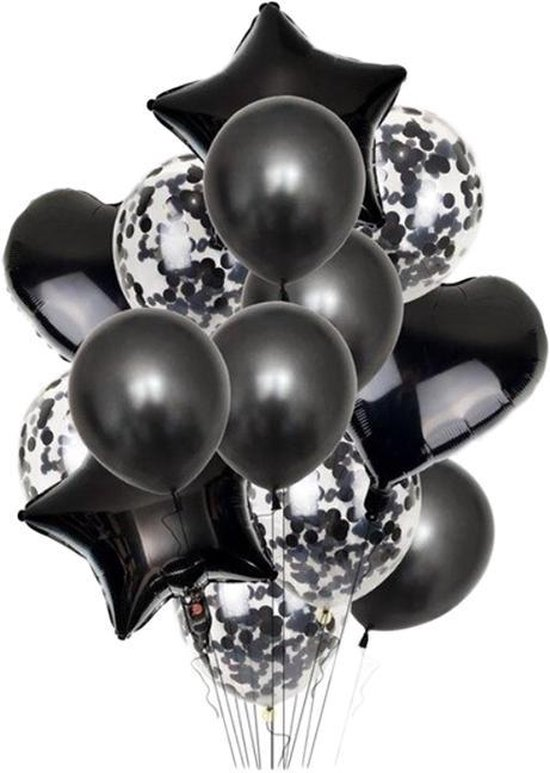 DW4Trading® Ballon mix hart ster confetti 14 stuks zwart