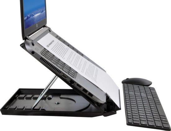 """DESQ® Laptop standaard  5 hoek standen   t/m 15,6""""   Met documenthouder   Slechts 25mm dik   Inclusief draaimechanisme - Desq"""