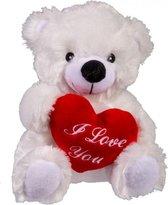 Knuffel beer met hart i love you 22 cm| Pluche knuffelbeer met hartje
