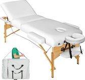 Massagetafel met matras van 10 cm hoog + draagtas wit
