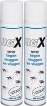 HG X Anti-Muggen/Vliegenspray - 400ml - 2 Stuks !