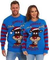 """Foute Kersttrui Dames & Heren - Christmas Sweater """"Het Jingelende Rendier (met echte bellen!)"""" - Kerst trui Mannen & Vrouwen Maat L"""