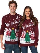 """Foute Kersttrui Dames & Heren - Christmas Sweater """"Gezellig Kerstlandschap"""" - Kerst trui Mannen & Vrouwen Maat M"""