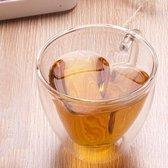 Let op type!! 2 stuks hartvormige dubbele wand glazen mok resistent transparante theekopjes (240 ml)