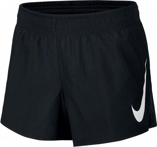 Nike Swoosh Run Short Dames Sportbroek - Black/Black/(White) - Maat XL