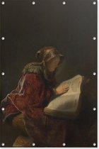 Oude lezende vrouw, waarschijnlijk de profetes Hanna   Rembrandt van Rijn   1631   Kunst   Tuindoek   Tuindecoratie   60CM x 90CM   Tuinposter   Spandoek   Oude meesters