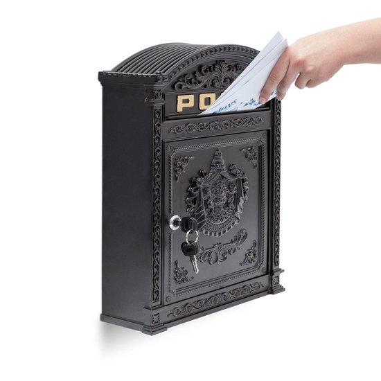 relaxdays brievenbus Engelse muur-brievenbus nostalgie, A4 formaat, antiek zwart - Relaxdays