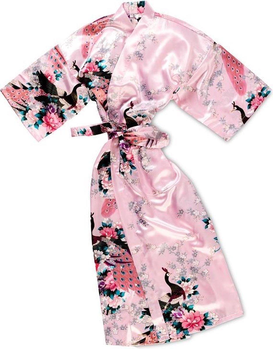 TA-HWA Kimono met Pauw Motief Roze Dames kimono S