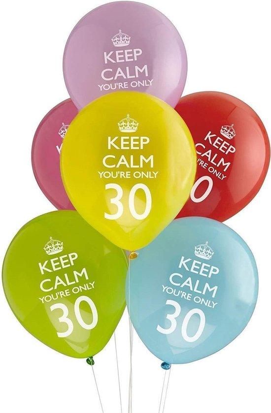 Neviti Keep Calm Party - 30th verjaardag ballon assorti - Set-8