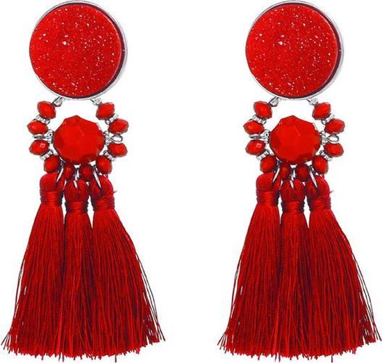 Statement oorbellen Stand Out rood