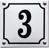Emaille huisnummer wit/zwart nr. 3