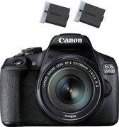 Canon EOS 2000D + 18-55mm IS + Extra Accu - Zwart