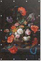 Stilleven met bloemen en een horloge   Abraham Mignon   ca. 1660 - ca. 1679   Kunst   Tuindoek   Tuindecoratie   60CM x 90CM   Tuinposter   Spandoek   Oude meesters