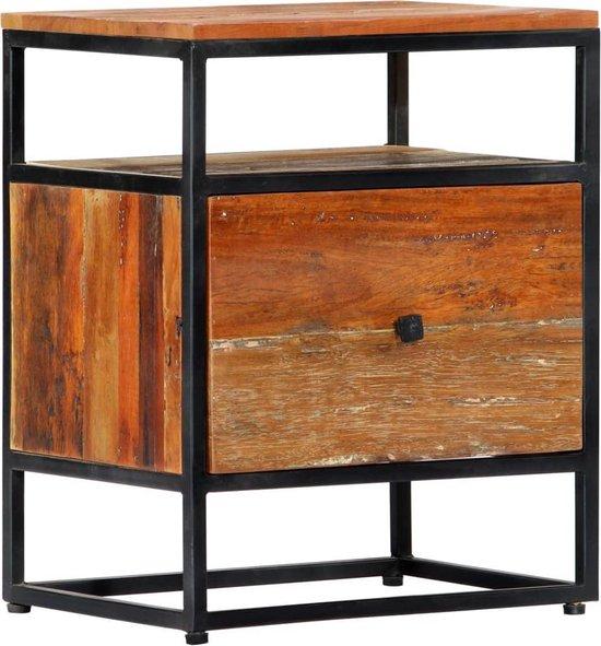 vidaXL Nachtkastje 40x30x50 cm massief gerecycled hout en staal