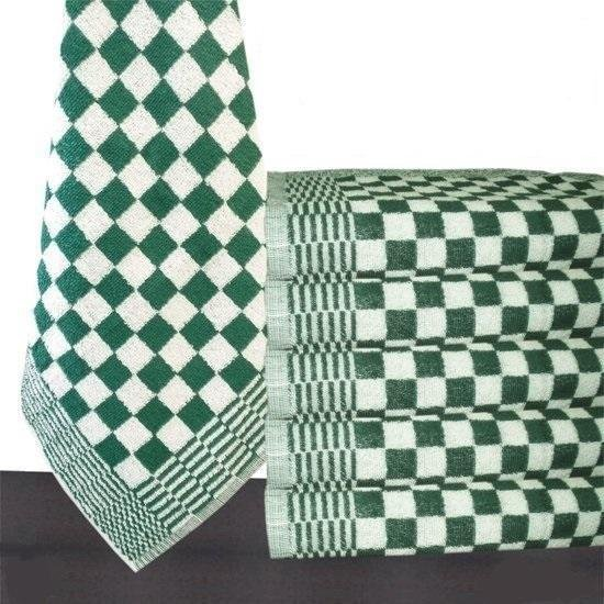 Homéé® Keukendoek groen / wit geblokt - 50x50cm - set van 6 stuks - 100% katoenen badstof