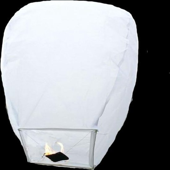 5 witte wensballonnen vliegende papieren lantaarns ufo ballon zweeflantaarn:  VOLANTERNA®
