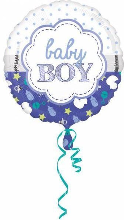 Helium Ballon Geboorte Jongen Baby Boy 43cm leeg