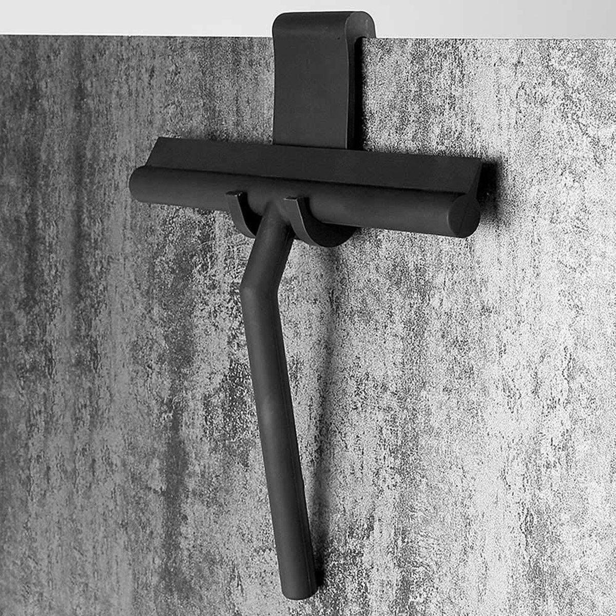 Douchewisser Zwart met Ophangsysteem- Badkamer Accessoires- Raamwisser- Trekker Douche- Silicone- 21