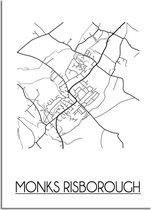 DesignClaud Monks Risborough Plattegrond poster A4 + Fotolijst zwart