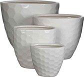Mica Decorations diamond ovalen potten wit set van 4 grootste maat in cm: 37 x 26 x 29,5