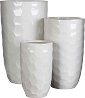 Mica Decorations diamond ronde vaas wit set van 3 grootste maat in cm: 45 x 26