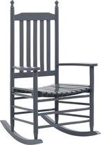 vidaXL Schommelstoel met gebogen zitting hout grijs