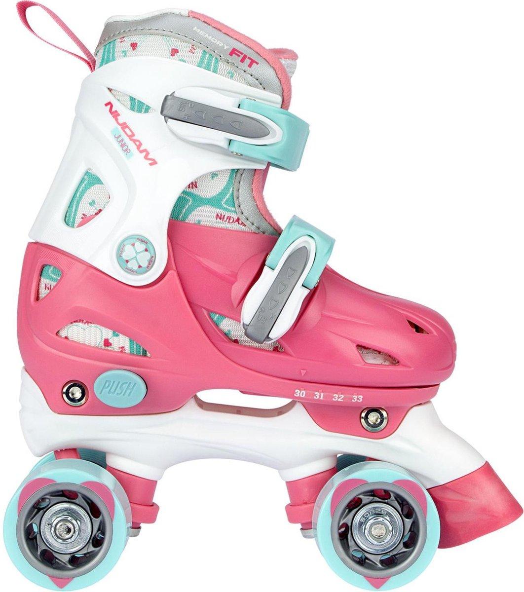 Nijdam Rolschaatsen Junior Verstelbaar Hardboot - Disco Twirl - Roze/Wit/Lichtblauw - 34-37