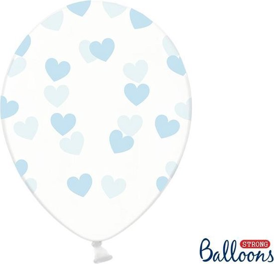 Partydeco 50 Ballonnen in zak hartjes crystal - Blauw 30cm