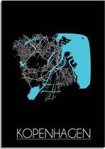 Plattegrond Kopenhagen Stadskaart poster DesignClaud - Zwart - A2 + fotolijst wit