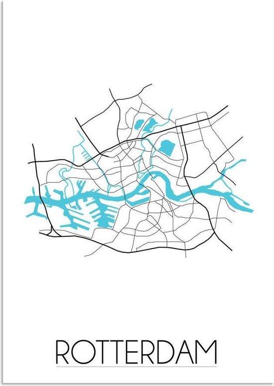 Plattegrond Rotterdam Stadskaart poster DesignClaud - Wit - A3 Poster