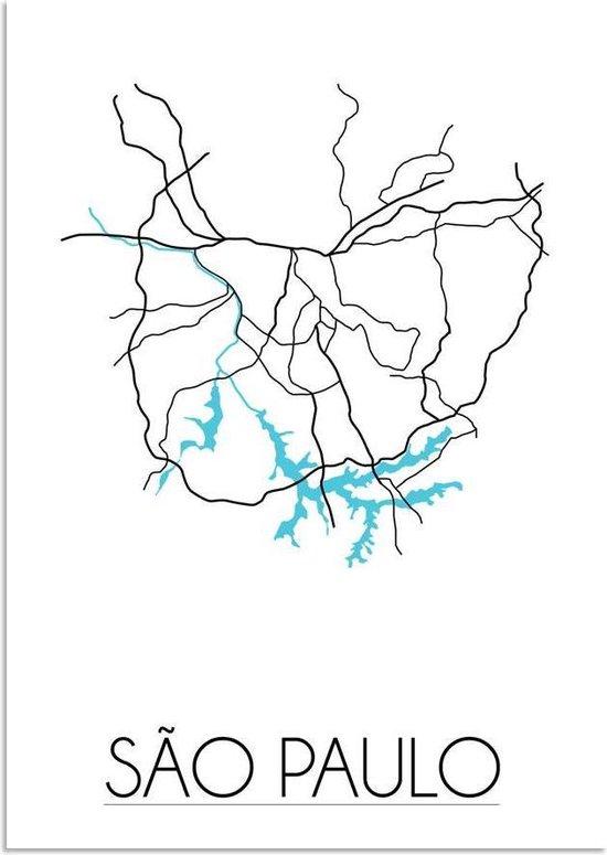 Plattegrond Sao Paulo Stadskaart poster DesignClaud - Wit - A4 + fotolijst zwart