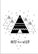DesignClaud Into the wild - Tipi - Kinderkamer poster - Babykamer poster - Decoratie - Zwart wit poster A3 poster zonder fotolijst