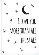 Kinderkamer poster I love you more than all the stars DesignClaud - Zwart wit - A3 poster
