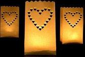 Candle bag 10 stuks hart