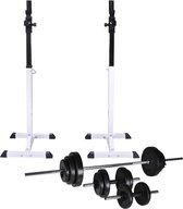 vidaXL Halter-/squatrek met halterset 30.5 kg