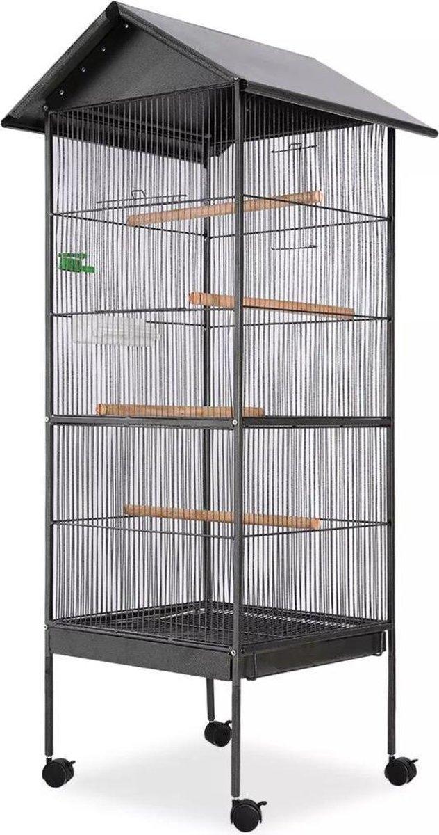 vidaXL Vogelkooi met dak staal zwart 66x66x155 cm