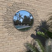 vidaXL Tuin wandspiegel sunburst 80 cm zwart