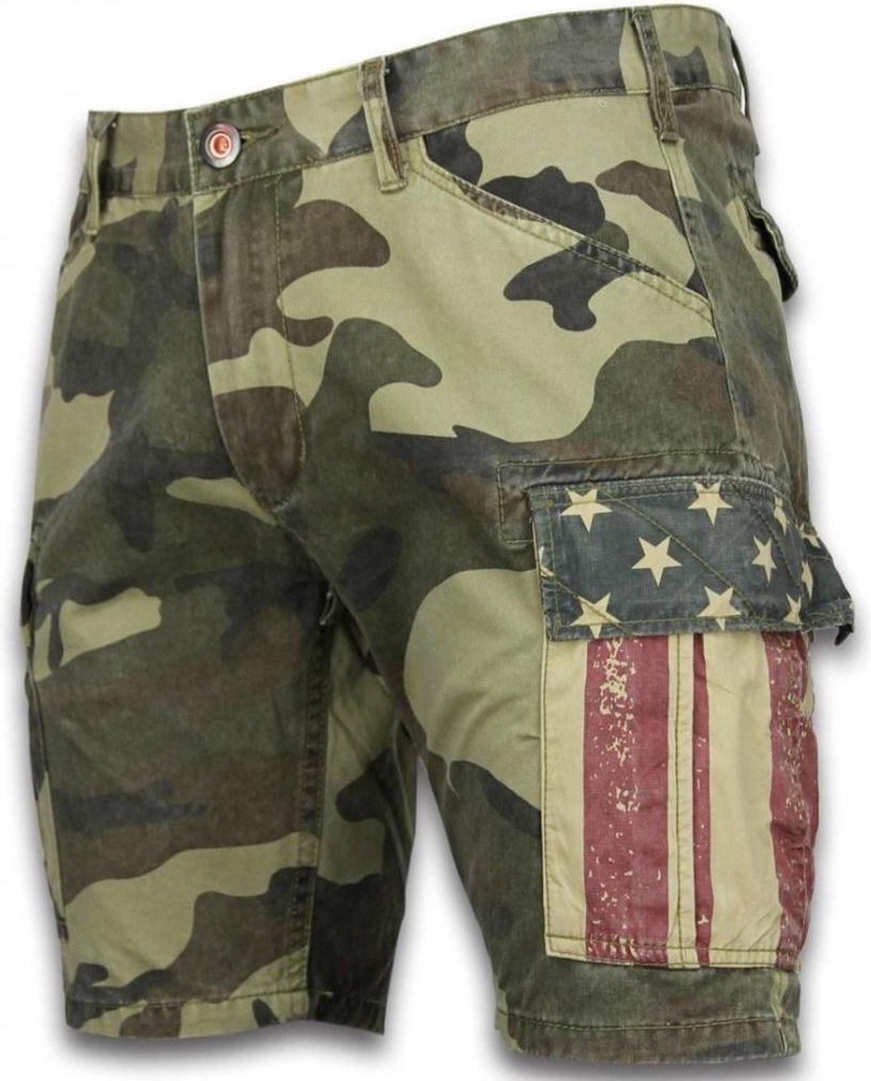 BB Bread & Buttons Korte Broeken Heren Slim Fit Camouflage Shorts Licht Groen Maten: 28