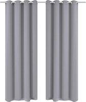 Gordijnen met metalen ringen 135 x 245 cm 2 stuks (grijs)