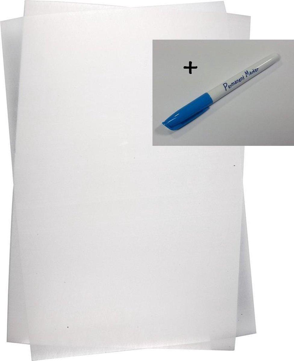 Krimpie dinkie krimpfolie transparant mat - sanded, A4 - 4 vellen + permanent marker - ThuisinThema