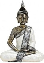 Boeddha beeldje wit/zilver 41 cm - Tuin decoratie/woonaccessoires Boeddha beelden