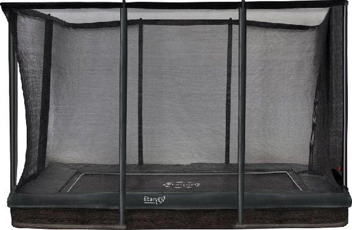 Trampoline Etan Inground Premium Gold Combi set 310 x 232 cm - inc. Veiligheidsnet - Grijs- Rechthoekig