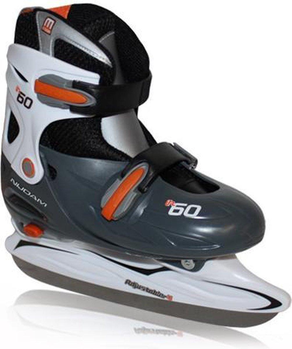 Nijdam IJshockeyschaats Junior - Verstelbaar - oranje/zwart - Maat 27-30
