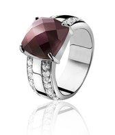 Zinzi - Zilveren Ring - Paarse Cateye - Zirkonia - Maat 54 (ZIR626-54)
