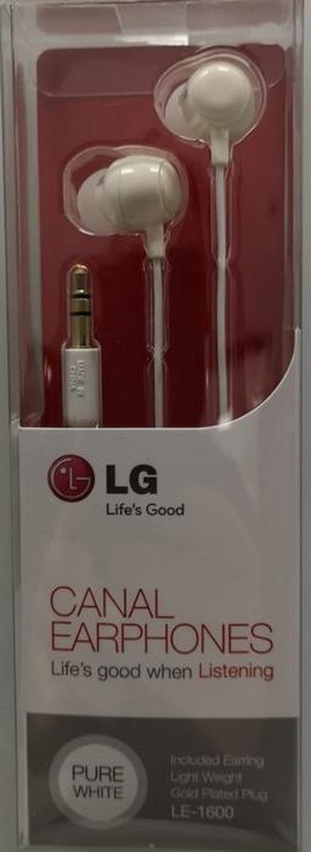 LG - LE-1600 Canal Stereo Head Phones 3.5mm - Wit