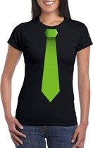 Zwart t-shirt met groene stropdas dames 2XL